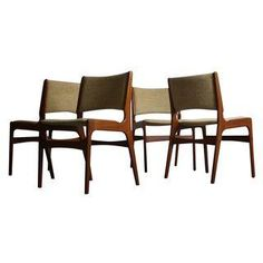 This is such a stunning set of four teak dining chairs attributed to Johannes Andersen.