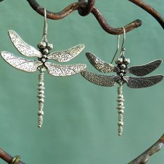 Wingspan - 1-1/2 or 3.8cm  Total Length - 2 or 5.1cm  Length of dragonfly - 1-7/8    This is the larger size of my two dragonfly earring designs.