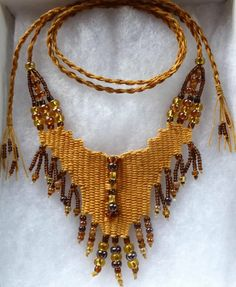 """Autumn Gold"" - 2013 - Adjustable Length, SOLD. Hand woven, handwoven, weaving, weave, needleweaving, pin weaving, woven necklace, fashion necklace, wearable art, fashion necklace, fiber art."