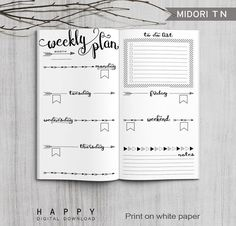 Printable weekly planner Midori weekly planner for the Bullet Journal. The post Printable Bullet Journal Weekly inserts, Midori Weekly Planner, Printable Midori Traveler& Notebook weekly planner inserts, PDF file appeared first on Trendy. Bullet Journal Agenda, Bullet Journal Ideas Pages, Bullet Journal Spread, Bullet Journal Inspiration, Bullet Journals, Bullet Journal Months, Bullet Journal Front Page, Bullet Journal Inserts, Bullet Journal Weekly Layout