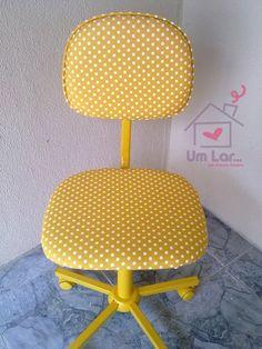 Um lar...: Antes e depois: Minha cadeira amarelinha de poás! (PAP)