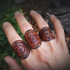 Featured Rings: From The Botanic Leather Ring The Bloom Leather Ring Oli's Rose Leather Ring. or my Etsy store for purc. Leather Carving, Leather Art, Leather Cuffs, Leather Design, Leather Tooling, Leather Jewelry, Tan Leather, Custom Leather, Tooled Leather