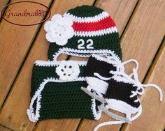 Baby GIRLS HOCKEY Crocheted Helmet Hat , Diaper Cover & Skates Green, Red White for you Wild and Crazy Fans Size Preemie, Newborn, 0-3 M