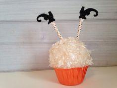 Sale Halloween Cupcake Toppers Witch Legs  Cupcakes Topper Glitter Paper Straws Orange Black Polka Dot Retro Paper Straws