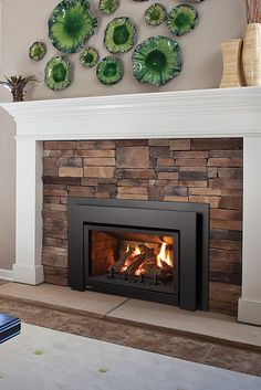 Quickly and easily replace your wood fireplace with a new gas insert. Say goodbye to wood and hello to gas! Fireplace Inserts, Wood Fireplace, Fireplace Ideas, Stone Mantle, Gas Insert, Traditional Fireplace, Stone Work, Old Wood, Home Renovation