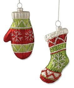 Glass mitten and stocking ornaments by Bethany Lowe