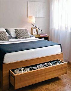 Unique Shoe Case Design to Display Your Shoes Collection: Wonderful DIY Shoe Storage Ideas Underbed Wooden Design ~ enjoyf.com Furniture Inspiration #smallspaces #storage