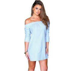 Casual Blue Off-shoulder Stripes Dress Down Shirt Dress Loose Fashion Slash Neck Mini Dresses For Women Vestido De Festa Curto