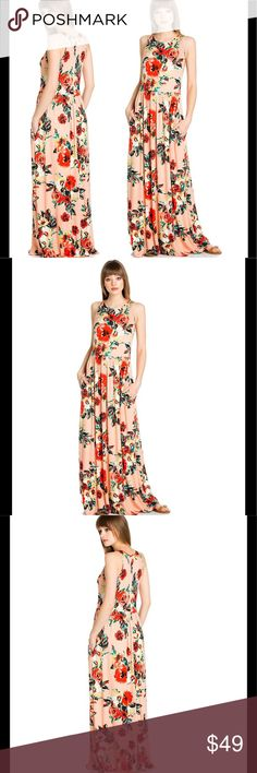 BLUSH FLORAL MAXI Comfortable and stylish. Features side pockets. Stretch-enhanced rayon spandex fabric. Relaxed fit. True to size. Made in the 🇺🇸🇺🇸🇺🇸. Dresses Maxi