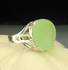 Eco Friendly GENUINE Sea Glass Ring Sterling by seaglassgems4you, $65.00