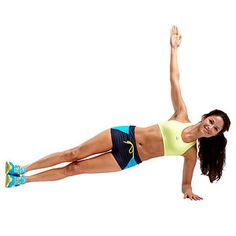 Plank Tap:  Lie on left side, hips and legs stacked and left elbow aligned under left shoulder, with forearm on floor.  Extend right arm toward ceiling and lift hips, forming straight line from head to heels. MAKE IT EASIER: Keep right hand on hip.  Tap left side of hip to floor for 1 count, then lift back up to side plank.  Do 12 reps. Switch sides and repeat.