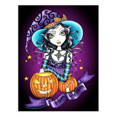 """""""Lisa"""" Halloween Pumpkin Witch Postcard - click/tap to personalize and buy"""