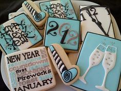 New Year's Eve cookies.  I cannot believe we would be piping 2013 on these!