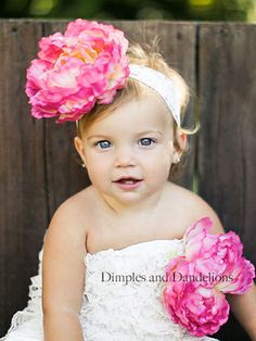 Image detail for -White Ruffle Lace Romper w/ Bubblegum Pink Peony Set