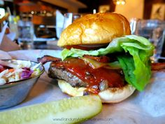 The Smokehouse with bourbon barbecue sauce at Burgers & Bourbon at the Montage at Deer Valley, #ParkCity, #Utah.