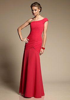 Elegant Chiffon A linha de um ombro Andar de comprimento Ruching dama Vestido