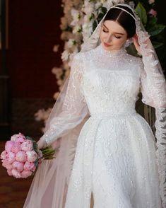 Fancy Wedding Dresses, Muslim Wedding Dresses, Wedding Dress Trends, Long Sleeve Wedding, Wedding Dress Sleeves, Bridal Outfits, Bridal Dresses, Muslimah Wedding Dress, Ball Dresses