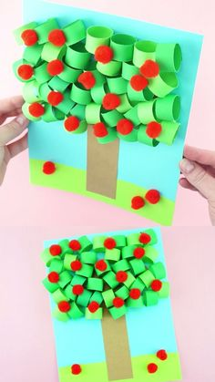 This 3D paper apple tree craft has awesome dimension and is perfect for a fall kids craft. Fun apple tree craft for kids and simple apple crafts for preschooler and kids of all ages. #iheartcraftythings