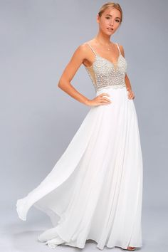 d1a1c5d38349 True Love White Beaded Rhinestone Maxi Dress