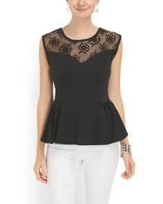 image of Lace Detail Peplum Top