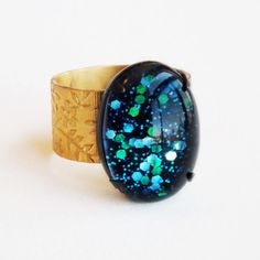 Nail Polish Ring Blue Green Glitter Ring Cosmic Vintage by skeptis