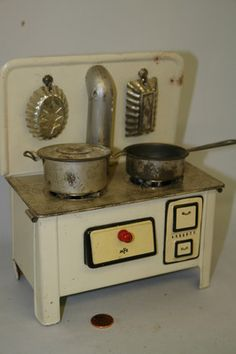"Tin Toy Stove Vintage MFZ German Lithographed 8"" w/Original Pots & Moulds"