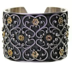 Damaskos Flower Gate Black Cuff Bracelet. 18k Gold, Sterling Silver, Rubies, Emeralds, Peridot and Tourmalines. See more Greek jewelry at www.athenas-treasures.com