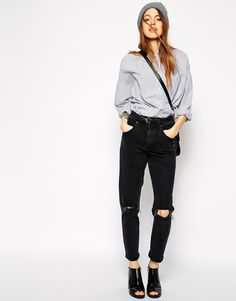 Image 4 ofASOS Farleigh High Waist Slim Mom Jeans in Washed Black with Busted Knees