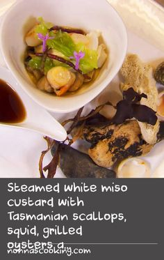 Steamed white miso custard with Tasmanian scallops, squid, grilled oysters and samphire (chawanmushi) Custard Ingredients, Custard Recipes, Cake Ingredients, Tart Recipes, Baking Recipes, Dishes Recipes, Grill Recipes, Food Dishes, Seafood Recipes