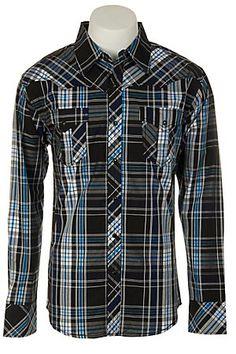 Indigo Star Mens L/S Western Snap Shirt MIFL1600BU