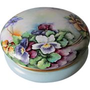 Lovely Antique French Limoges Vanity Box, Hand Painted Pansies