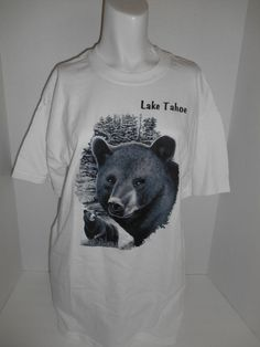 Vintage unisex 90's Bear tee t shirt tshirt Lake Tahoe clothing clothes