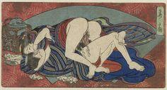 Anonymous | Kansen, de 'zoete waaier', Anonymous, 1850 - 1860 | Een concubine ligt in een innige omhelzing op haar minnaar. Langs zijn lid druipt het zaad omlaag. Achter hen een blauwe waaier tegen een rood fond.