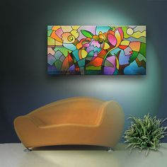 Abstract geometric landscape floral garden giclee print on