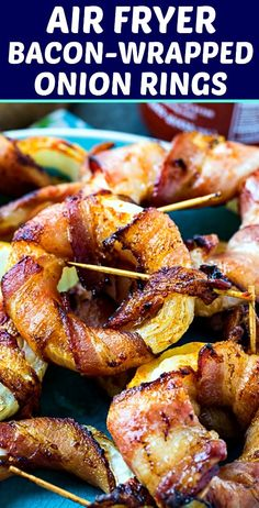 Air Fryer Bacon-Wrapped Onion Rings are outrageously good. Possibly the most delicious low carb appetizer or snack ever. Only 3 ingredients!