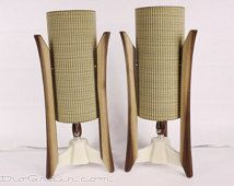 Mid-Century Lamps - PAIR - Danish Modern Lamps - Atomic Lamps - NEW - Unique Walnut Wood  - Tree Bark - Table lamps