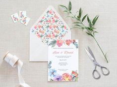 Watercolor Envelope Liner Printable Envelope Liner Wedding Printable Wedding Invitations, Wedding Invitation Suite, Wedding Stationery, Watercolor Design, Watercolor Wedding, Floral Watercolor, Diy Envelope, Envelope Liners, Love Design