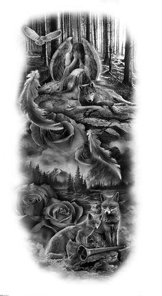 half sleeve tattoo designs and meanings Half Sleeve Tattoos Designs, Angel Tattoo Designs, Best Sleeve Tattoos, Tattoo Designs Men, Body Art Tattoos, Tribal Tattoos, Henna Tattoos, Tattoos Skull, Wolf Tatoo