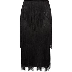 TOM FORD Fringed stretch ribbed-knit midi skirt ($2,250) ❤ liked on Polyvore featuring skirts, black, stretchy skirt, fringe skirts, stretch midi skirt, tiered skirt and mid calf skirts