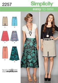 Simplicity pattern 2257: Misses' Easy to Sew Skirts. Skirts & Pants sewing patterns.