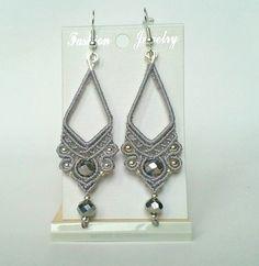 Silver drop earring statement earring long por KNOTSANDSPARKLEZ