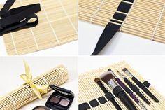 Monte um estojo de pincéis usando uma esteira para sushi, elástico e uma fita.