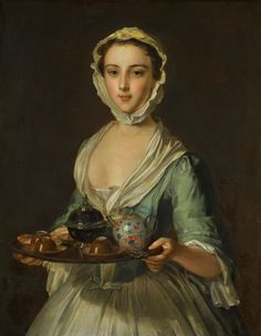 Philip Mercier A YOUNG WOMAN CARRYING A TEA TRAY, POSSIBLY HANNAH, THE ARTIST'S MAID