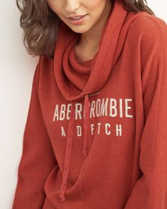 Womens Funnel Neck Logo Hoodie | Our modern twist on a classic. Supersoft fabric with a funnel neckline and a drawstring hood, logo graphic embroidered at front with a drapey silhouette, Easy Fit | Abercrombie.com