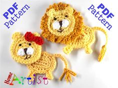 Lion - Female and male  This is an -INSTANT DOWNLOAD- pattern of a cute lion…