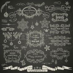 Ontwerpelementen van Kerstmis op bord Stockfoto