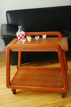 Danish Teak tea trolley  serving bar cart  Mid by RetroDromme