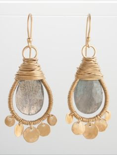 Crystals and gold! Wire wrapped earrings                                                                                                                                                      More