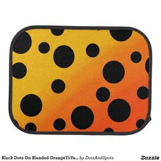 Black Dots On Blended OrangeToYellow Floor Mat