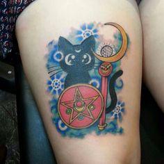 Finished Luna tattoo by anna spitz ♥ Badass Tattoos, Dog Tattoos, Cat Tattoo, Geek Tattoos, Tattoo Art, Fox Tattoo Design, Tattoo Designs, Tattoo Ideas, Sailor Scouts